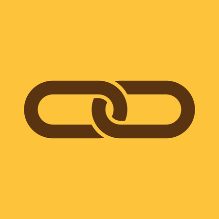 joined: The link icon. Linked and  joined, connection, hyperlink, chain symbol. Flat Vector illustration