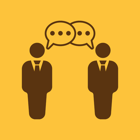 negotiations: The negotiations icon. Debate and dialog, discussion, conversations symbol. Flat Vector illustration
