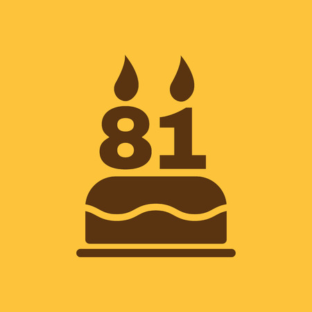 81: The birthday cake with candles in the form of number 81 icon. Birthday symbol. Flat Vector illustration Illustration