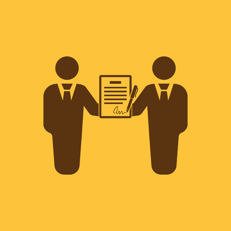 pacto: El icono del contrato. Acuerdo y firma, pacto, sociedad, s�mbolo de la negociaci�n. Ilustraci�n vectorial Flat