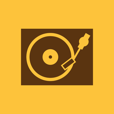 vinyl disk player: The turntable icon. DJ and gramophone, player, music symbol. Flat Vector illustration Illustration