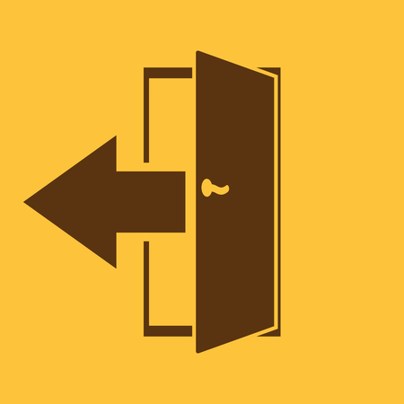 output: The exit icon. Logout and output, outlet, out symbol. Flat Vector illustration