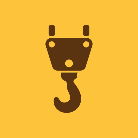 lifting hook: The crane hook icon. Building and lifting symbol. Flat Vector illustration Illustration