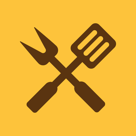 the cook: The bbq icon. Barbecue and kitchen, cook symbol. Flat Vector illustration Illustration