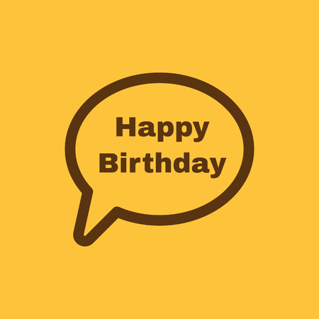 fete: The speech bubble with the word happy birthday icon. Celebration and  feast-day, fete symbol. Flat Vector illustration Illustration
