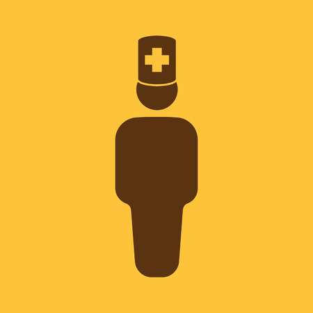 practitioner: The doctor avatar icon. Physician and practitioner, medicine, hospital symbol. Flat Vector illustration