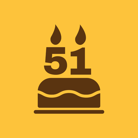 number candles: The birthday cake with candles in the form of number 51 icon. Birthday symbol. Flat Vector illustration