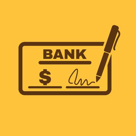 chequera: El icono de comprobación. Talonario de cheques y cheque, paga, pago, pago de símbolo. Ilustración vectorial Flat Vectores