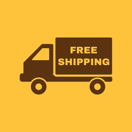 送料無料アイコンです。配送と交通、運輸のシンボル。フラットのベクトル図