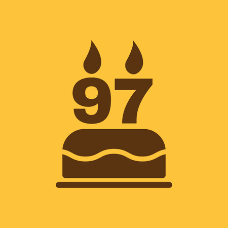 number candles: The birthday cake with candles in the form of number 97 icon. Birthday symbol. Flat Vector illustration Illustration