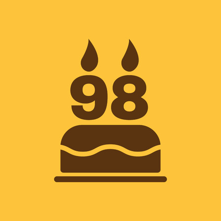 number candles: The birthday cake with candles in the form of number 98 icon. Birthday symbol. Flat Vector illustration
