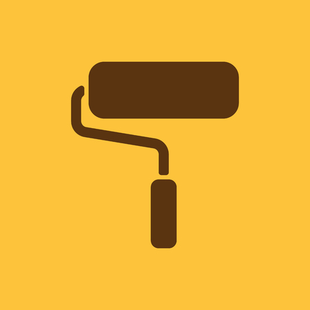 paint roller: The paint roller icon. Decorating and painting, repair symbol. Flat Vector illustration
