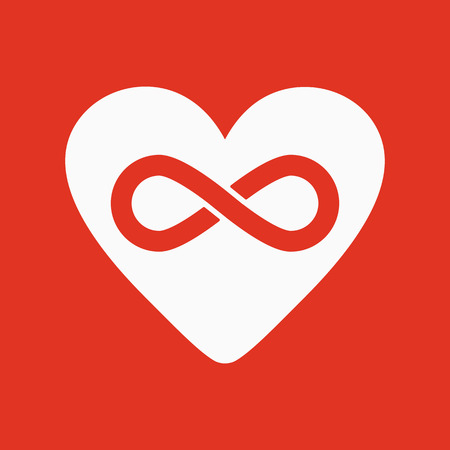 infinity symbol: The heart and infinity icon. Heart and Infinity symbol. Flat Vector illustration Illustration