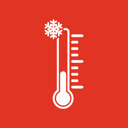 low temperature: The thermometer icon. Low temperature symbol. Flat Vector illustration