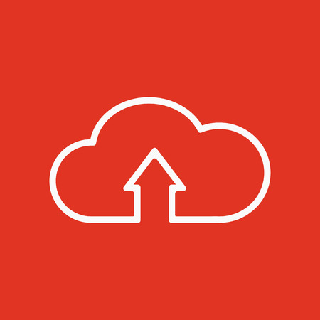 The upload to cloud icon. Download symbol. Flat Vector illustration