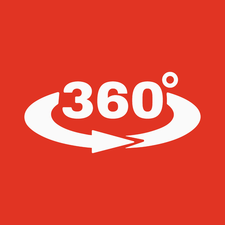 degrees: The Angle 360 degrees icon. Rotation symbol. Flat Vector illustration Illustration