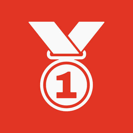 conquering: The medal icon. Prize symbol. Flat Vector illustration