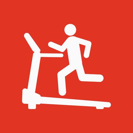 Cross trainer machine icon. Running symbol. Flat Vector illustration Illustration