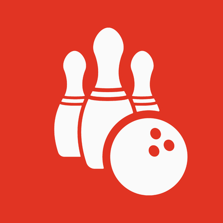 The bowling icon. Game symbol. Flat Vector illustration