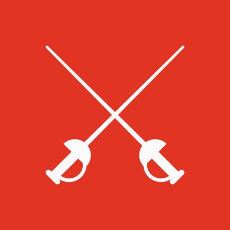 The sword icon. Epee symbol. Flat Vector illustration Illustration