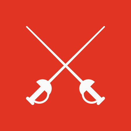 weaponry: The sword icon. Epee symbol. Flat Vector illustration Illustration