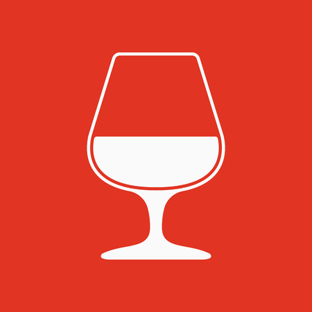 brandy: The glass with brandy icon. Brandy symbol. Flat Vector illustration