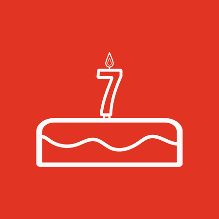 Cake with candles in the form of number 7 icon. birthday symbol. Flat Vector illustration Illustration