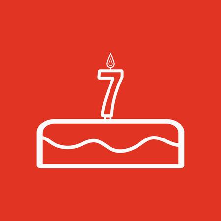 porcion de torta: Pastel con velas en forma de ícono número 7. símbolo de cumpleaños Ilustración vectorial plana
