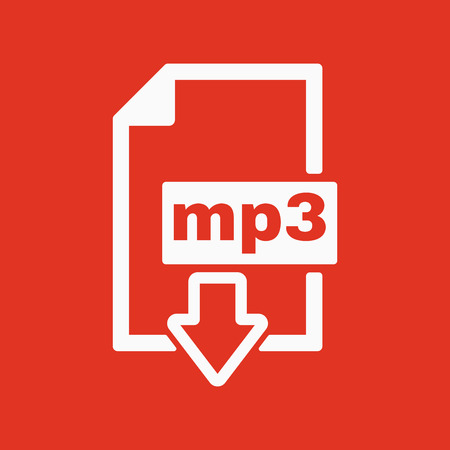 page down: The mp3 icon. File audio format symbol. Flat Vector illustration. Button