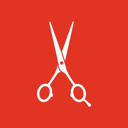 hairdressing scissors: The hairdressing scissors icon. Barbershop symbol. Flat Vector illustration Illustration