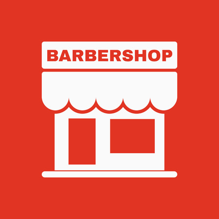 overhang: The barbershop building icon. Barbershop symbol. Flat Vector illustration