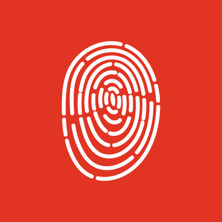 odcisk kciuka: The fingerprint icon. ID symbol. Flat Vector illustration