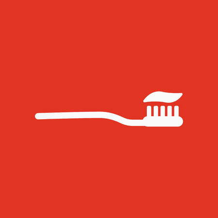 The toothbrush icon. toothpaste symbol. Flat Vector illustration