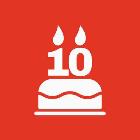 number 10: The birthday cake with candles in the form of number 10 icon. Birthday symbol. Flat Vector illustration Illustration