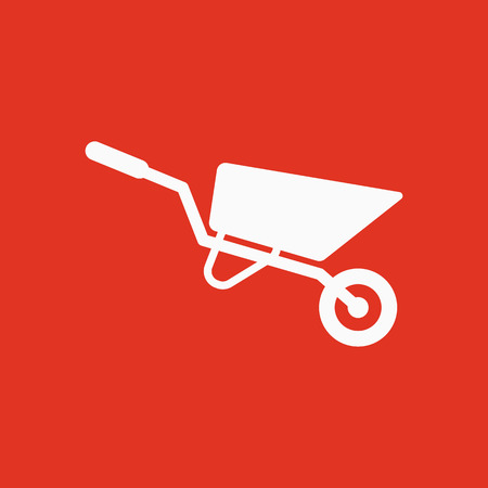 hauling: The wheelbarrow icon. Barrow symbol. Flat Vector illustration