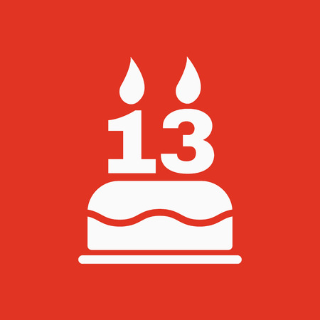 The birthday cake with candles in the form of number 13 icon. Birthday symbol. Flat Vector illustration Illustration