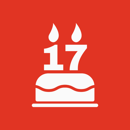 The birthday cake with candles in the form of number 17 icon. Birthday symbol. Flat Vector illustration