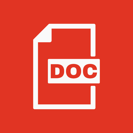 doc: The DOC icon. Text file format symbol. Flat Vector illustration