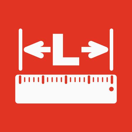 longitude: The length icon. Longitude, yardage, lgth symbol Flat Vector illustration
