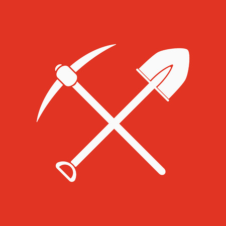digging: The crossing spade pickax icon. Pickax and excavation, digging, mining symbol. Flat Vector illustration
