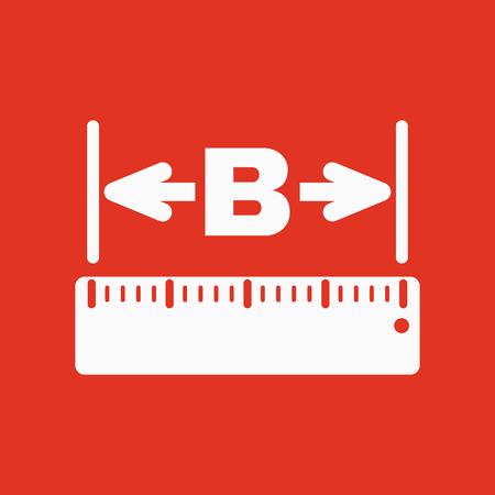width: The width icon. Measurement and ruler symbol. Flat Vector illustration Illustration
