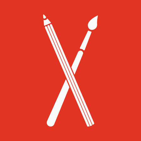 The crossing pencil with a brush icon. Painting and drawing symbol. Flat Vector illustration