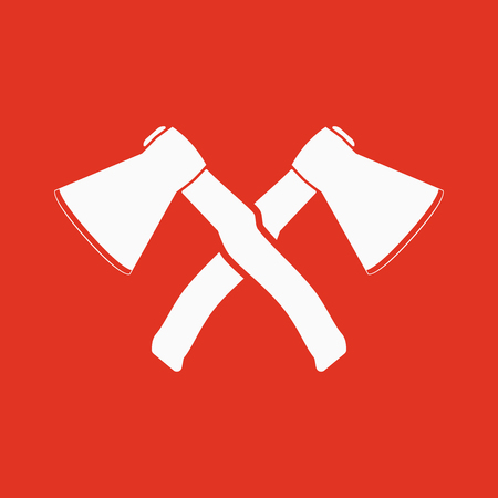 dangerous work: The crossed axes icon. Axe and hack symbol. Flat Vector illustration