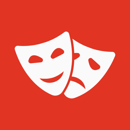 comedy and tragedy: The theater and  mask icon. Drama, comedy, tragedy symbol. Flat Vector illustration