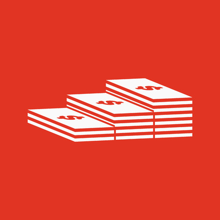 The stack of banknotes icon. Greenback, bank note, money symbol. Flat Vector illustration Illustration