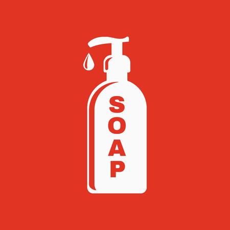 jabon liquido: El icono de jabón líquido. Símbolo lavar a mano. Ilustración vectorial Flat