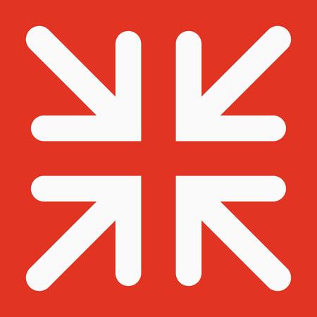 The exit full screen icon. Arrows symbol. Flat Vector illustration
