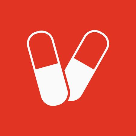antibiotic: The pill icon. Tablet and antibiotic, vitamins symbol. Flat Vector illustration