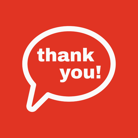 commendation: The thank you  icon. Thanks symbol. Flat Vector illustration