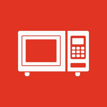 microondas: El icono de horno de microondas. Símbolo de la cocina. Ilustración vectorial Flat